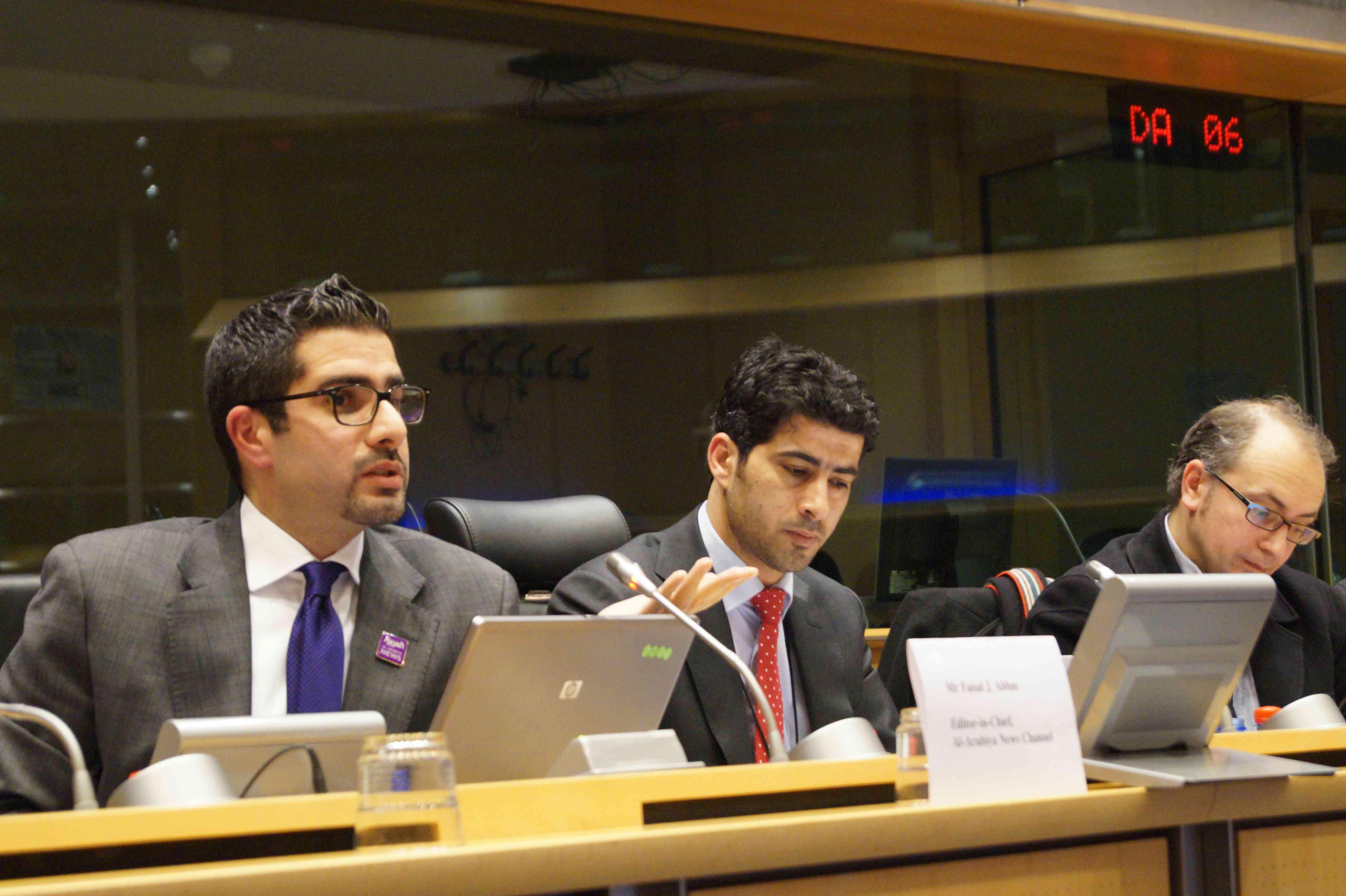 Faisal J. Abbas speaking at the EU Parliament in 2014