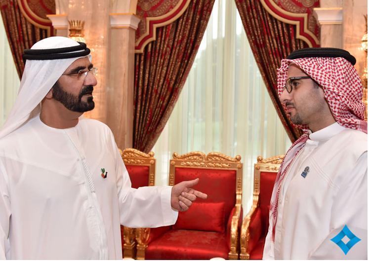 Faisal J. Abbas with Sheikh Mohammed bin Rashid Al Maktoum, Vice President and Prime Minister of the United Arab Emirates, and Emir of Dubai.