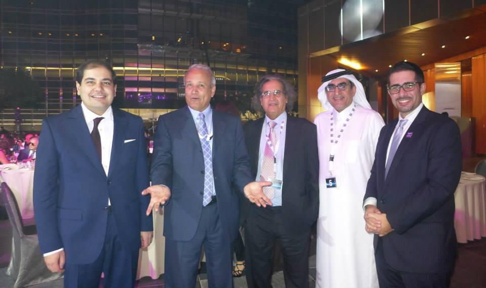 Faisal J. Abbas celebrates the relaunch of Al Arabiya English  with (L-R) Adel Al Toraifi, Abdulrahman Alrashed, Othman Al Omeir, Azzam Al Dakhil