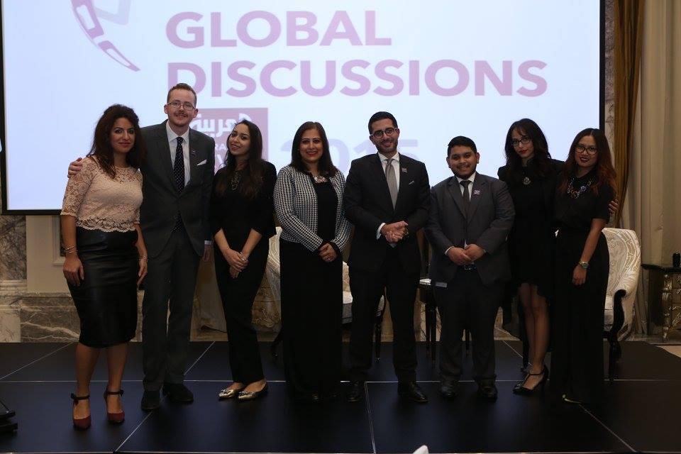 Faisal J. Abbas and the Al Arabiya English team during the Global Discussions 2016